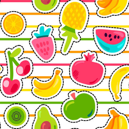 Exotic summer fruits vector seamless pattern Çizim