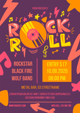 Rock and Roll Event Retro Style Poster Template Çizim