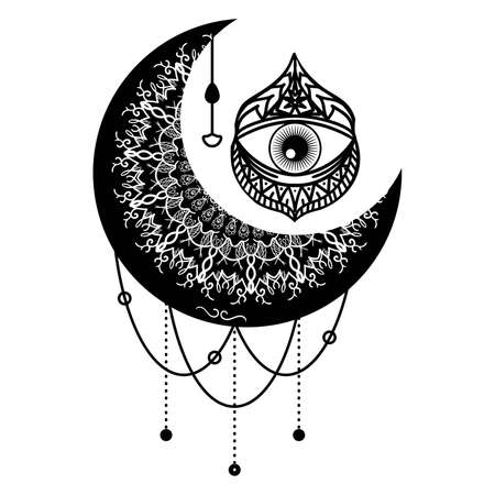 Mandala with floral ornament vector illustration. Crescent moon contour symbol. Third eye ethnic mascot ornament. Thin line art. Isolated outline drawing. Çizim