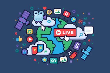 Global news concept icon. Social media producing tools. Live stream idea semi flat illustration. Online broadcast badges. Vector isolated color drawing