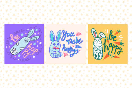 Cute cards with motivational hand drawn doodle lettering and funny bunnies. Set of template greeting cards for holidays and birthdays events. Calligraphic vector illustration