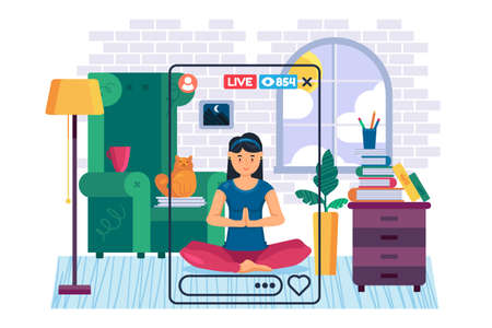 Yogi girl streamer flat color vector character. Woman vlogger meditates and shoots live stream. Sports content in real life. Healthy lifestyle isolated cartoon illustration for web graphic design