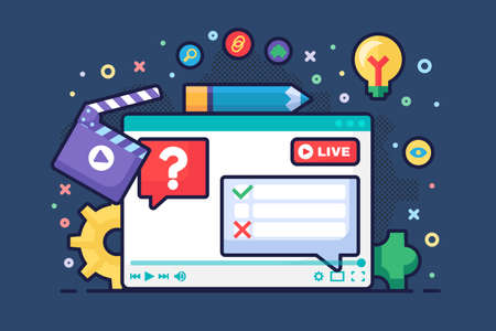 Live stream discussion concept semi flat illustration. Digital communication idea podcast. Voting and polls in chat. Online broadcast design on dark background. Vector isolated color drawing