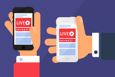 Mobile live stream in hands concept illustration. Broadcast business news. Online streaming on smartphone screen. Modern semi flat design. Vector isolated color drawing
