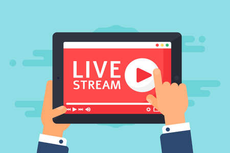 Man watching online broadcast concept illustration. Live stream on screen top view. Tablet in hands semi flat cartoon drawing. Vector isolated color icon