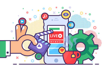 Mobile live stream concept illustration. Online streaming on smartphone. Hand with clapperboard. Modern semi flat design. Vector isolated color drawing