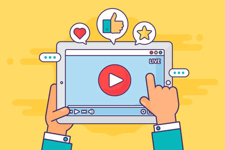Live stream on screen top view concept illustration. Online streaming activity. Broadcast in real life. Tablet in hands semi flat cartoon drawing. Vector isolated color icon Çizim