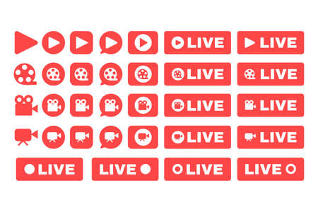 Social live stream icons set. Online broadcast button idea flat color illustrations. Web streaming red badges pack. Vector isolated silhouette drawings