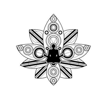 Human Silhouette with Lotus Flower Vector Template. Yoga Label Isolated with Female Meditation in Lotus Outline on White Background. Relaxation and Wellness Illustration