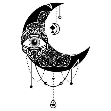 Crescent moon eye contour symbol