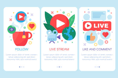 Live stream onboarding vector template Çizim
