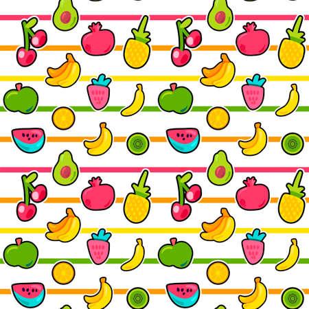 Exotic summer fruits vector seamless pattern Illusztráció