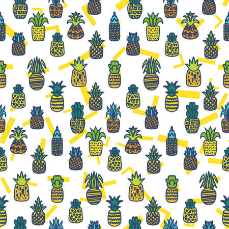 Whole pineapples vector seamless pattern. Summer juicy fruits, tropical wallpaper, textile design with memphis background Zdjęcie Seryjne - 160760532