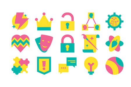 Collection Different Creative Design Set Icon. Lightning and Crown, Locked and Unlocked Padlock, Triangel Sphere and Heartbeat Line with Heart, Theater Masks and Puzzle Game. Template Vector Flat
