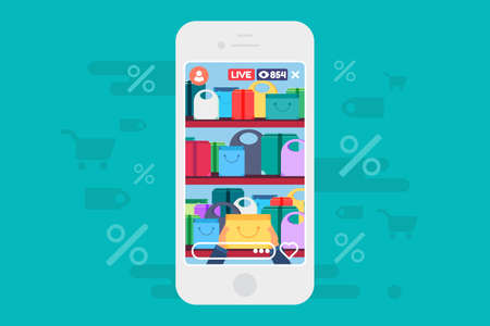 Online shopping discounts live stream concept illustration. Streaming about advantageous offers. Mobile screen. Vector isolated color drawing