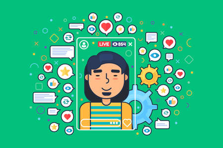 Asian male streamer vector cartoon character. Mobile online broadcast. Chinese boy vlogger shoots live stream flat color illustration. Web graphic design on green background