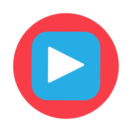 Play button flat vector icon. Video audio pictogram symbol. Multimedia activation symbol