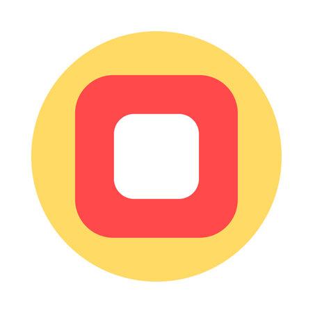 Stop button flat vector icon. Media control symbol. Video app interface. Multimedia player Zdjęcie Seryjne - 160760554