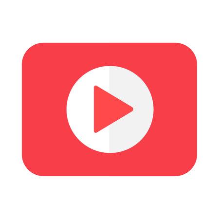 Play symbol flat vector icon. Audio, video, music player button. Resume sign. Multimedia symbol Ilustracja
