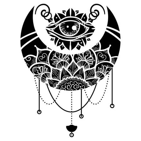 Mandala with floral ornament vector illustration. Crescent moon contour symbol. Third eye ethnic mascot. Thin line art. Isolated outline drawing.