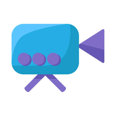 Video camera flat vector icon. Film recording cam. Moviemaking. Security monitoring
