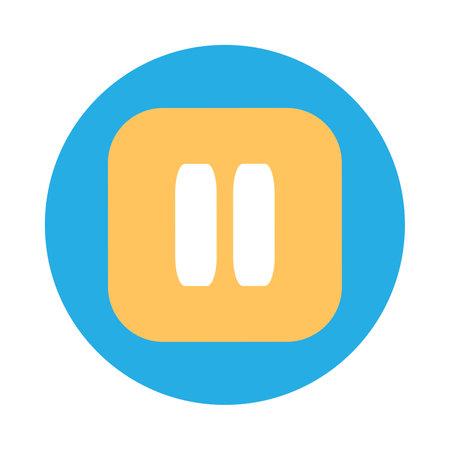 Pause button flat vector icon. User interface media control. Multimedia interruption symbol Ilustracja