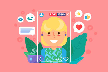 European girl streamer flat color vector character. Woman blogger recording online broadcast. Creates content in real life. Live stream isolated cartoon illustration for web graphic design