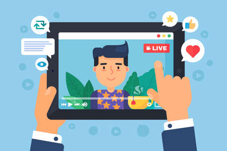 European male web streamer concept illustration. Online broadcast on tablet display semi flat cartoon drawing. Man watching social live stream. Vector isolated color icon