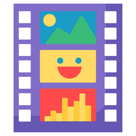 Film strip flat vector icon. Movie production industry. Camera roll. Video edit, record app