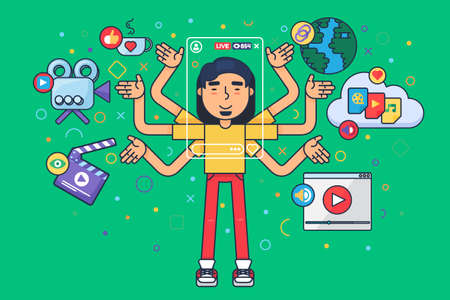 Asian male vlogger flat concept illustration. Social live stream producing tools. Chinese man freelancer cartoon character creates content. Vector isolated color drawing