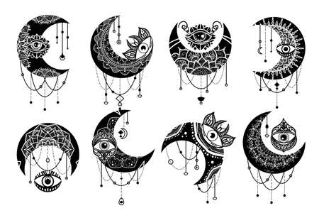 Crescent moon contour symbol linear icons set. Esoteric spiritual ethnic mascots.  ornament with mandala element. Isolated vector outline illustrations. Zdjęcie Seryjne - 160761033