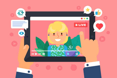 European female web streamer concept illustration. Live stream on screen top view. Person watching online broadcast. Tablet in hands flat cartoon drawing. Vector isolated color icon