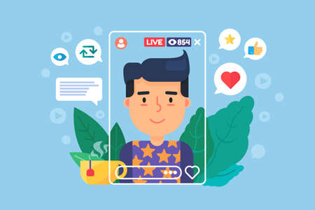 European vlogger flat color vector character. Online broadcast on smartphone. Man streamer creates content in real life. Live stream isolated cartoon illustration for web graphic design