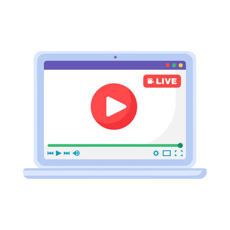 Laptop with Live Stream Play Button, Media Device App Icon. Flat Vector Illustration of Computer Screen with Video Player Open