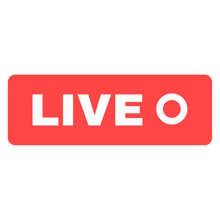 Social live stream silhouette icon. Online broadcast news button idea flat color symbol. Web streaming red badge. Vector isolated drawing Ilustracja