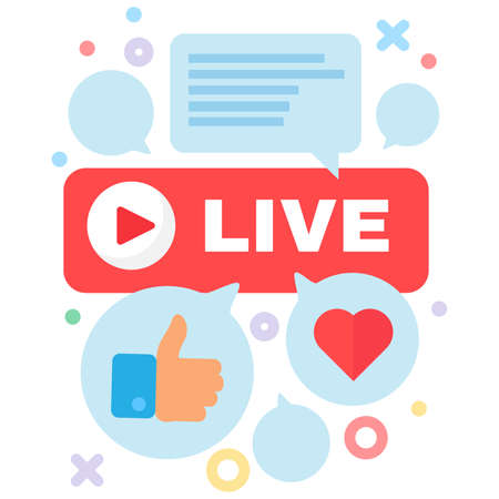 Live stream and communication concept icon. Chat online. Like and comment box idea semi flat illustration. Vector isolated outline color Ilustracja