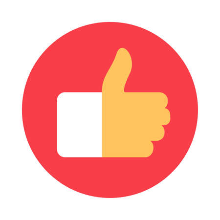 Thumb Up Flat Icon, Like It Sign Vector illustration. Approve Symbol of Social Network Media Communication. Colorful Circle Icon Yes Hand Gesture Ilustracja