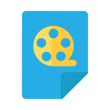 Video File Icon, Film Tape Reel Button Design. Flat Vector Illustration of File with Video or Movie File Document Symbol Isolated Ilustracja