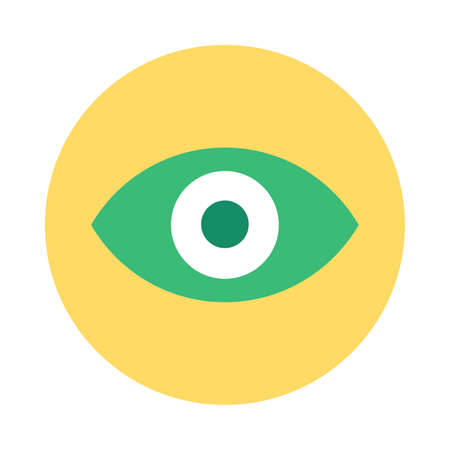 Eye Icon, Web App Button Design. Flat Vector illustration. Colorful Circle Button, Vision or Search Concept for Modern Mobile Application or Website Interface Zdjęcie Seryjne - 160761047