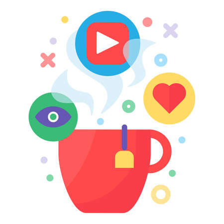 Watching video with hot drink concept icon. Red mug and follow sign. Feedback after viewing idea thin line illustration. Vector isolated outline color drawing Zdjęcie Seryjne - 160761051