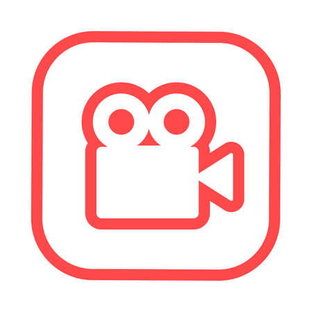 Video camera silhouette square icon. Movie recording button. Digital camcorder badge. Filming equipment thin line illustration. Multimedia contour symbol. Vector isolated outline drawing