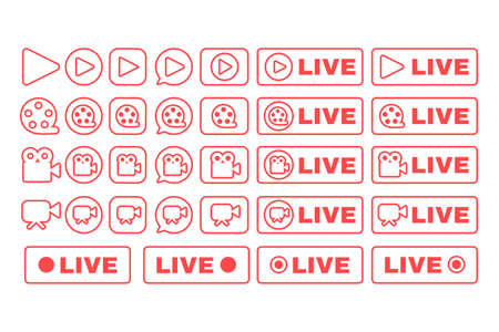 Social live stream linear icons set. Web streaming badges pack. Online broadcast news thin line contour button symbols. Isolated vector outline illustrations