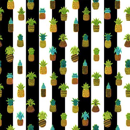 Pineapples vector seamless pattern. Summer fruit on striped background. Tropical wallpaper design Zdjęcie Seryjne - 160763130