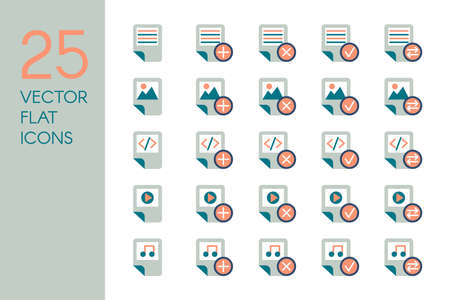 Documents and files flat vector icons set. Data storage, desktop items gray and coral colors pictograms