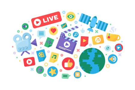 Live stream producing concept icon