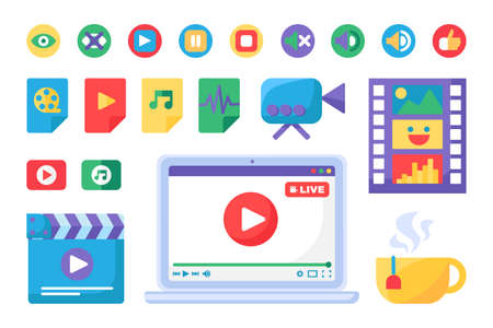 Live stream producing tools icons set. Laptop and multimedia badges. Online broadcast symbols collection. Isolated vector outline illustrations
