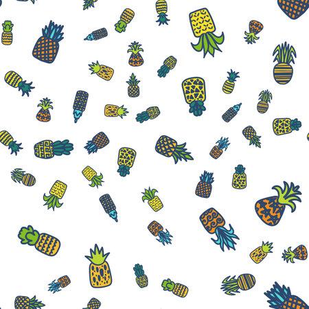 Pineapples vector hand drawn seamless pattern Ilustracja