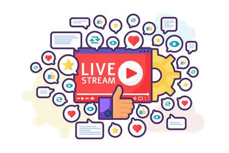 Live stream launch concept illustration