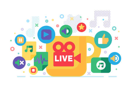 Live stream production concept illustration. News semi flat badges. Social media modern cover design. Materials for online broadcasting. Vector isolated color drawing