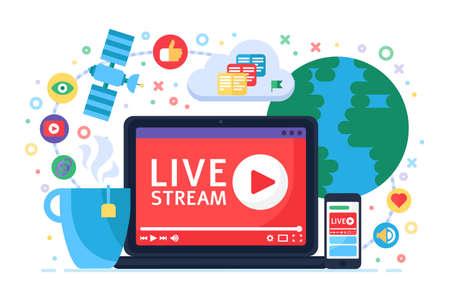Live stream concept icon. Online broadcast news idea Ilustracja
